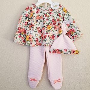 NWT Mud Pie Secret Garden Baby Girls Floral Blue Kimono Romper Sleeper